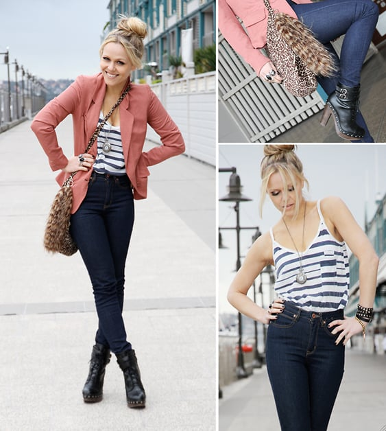 Take a cue from this street snap and pair a striped tank with jeans and a blazer for a casually chic look.  Photo courtesy of lookbook.nu