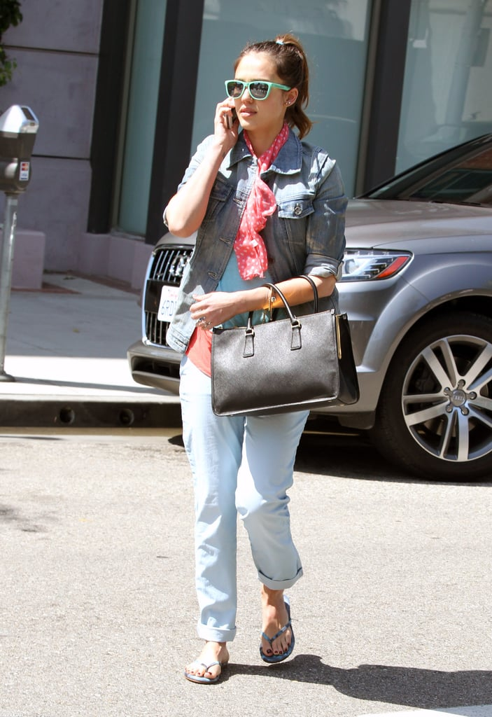 Jessica Alba got in on the trend in a small way with her pretty pink polka-dot scarf, which she used to accessorize her denim jacket and pastel blue pants.