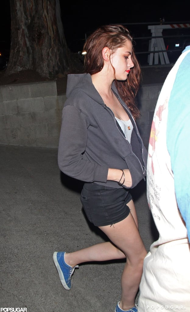 Kristen Stewart showed off her legs in a short pair of shorts for a Florence and the Machine concert.