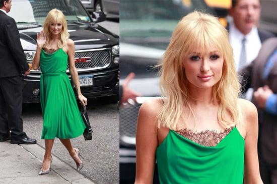 Paris Hilton Stops by The David Letterman Show in a Diane von Furstenberg Dress