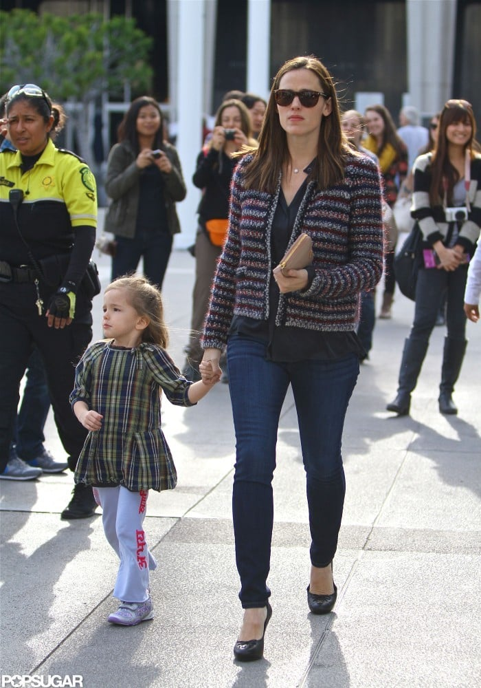 Jennifer Garner and Seraphina Affleck held hands on the way to Anything Goes in LA.