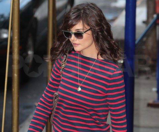 Slide Picture of Katie Holmes Leaving Her NYC Hotel in a Red and Navy Dress