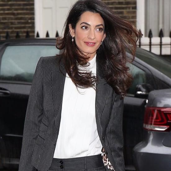 Amal Clooney Wearing Pinstripe Suit