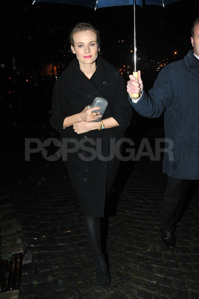 Diane Kruger dressed in black for a night out in Paris with Prada.