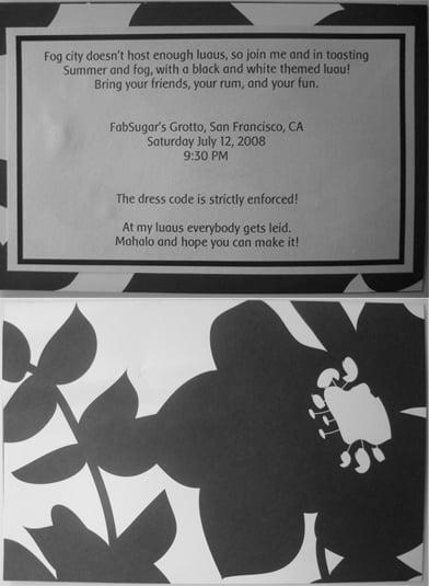 Come Party With Me: Black and White Luau — Invite