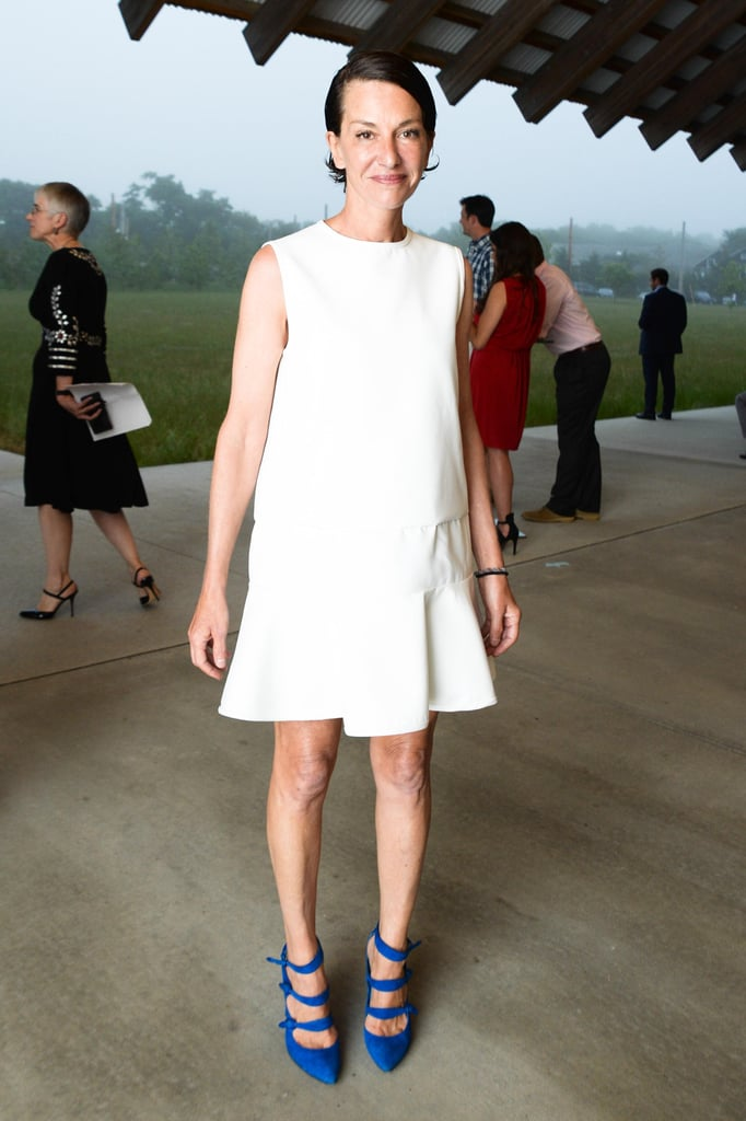 Cynthia Rowley set off her drop-waist LWD with bright cobalt heels at the Parrish Art Museum's Midsummer Party.