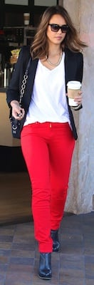 Jessica Alba in Red Joe's Jeans and Carrying Coach Bag