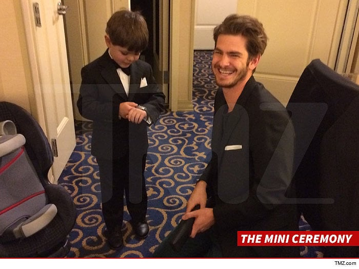 After his planned Oscars appearance was canceled in February 2014, Andrew honored his commitment to San Francisco Batkid Miles Scott by taking him to Disneyland. Before their day at the park, Andrew and Miles conducted an adorable mini Oscars ceremony at the hotel. Source: TMZ