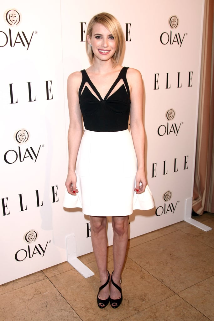At Elle's Women in Television event, Emma had a black and white Cushnie et Ochs moment that was anything but boring.