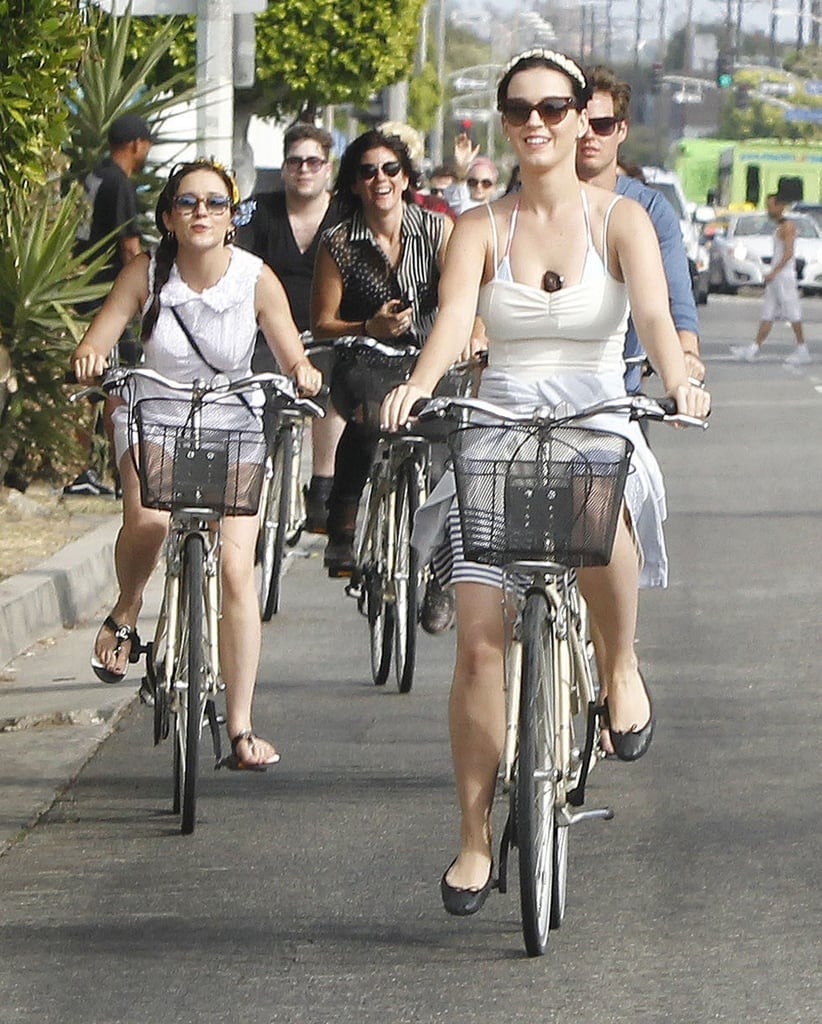 Katy Perry went for a bike ride with friends in Venice, CA, to celebrate  Independence Day.