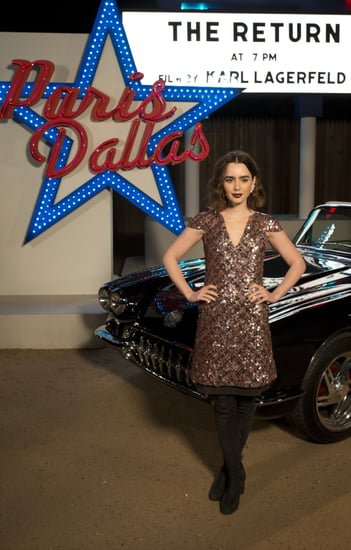 Lily-Collins-posed-against-backdrop
