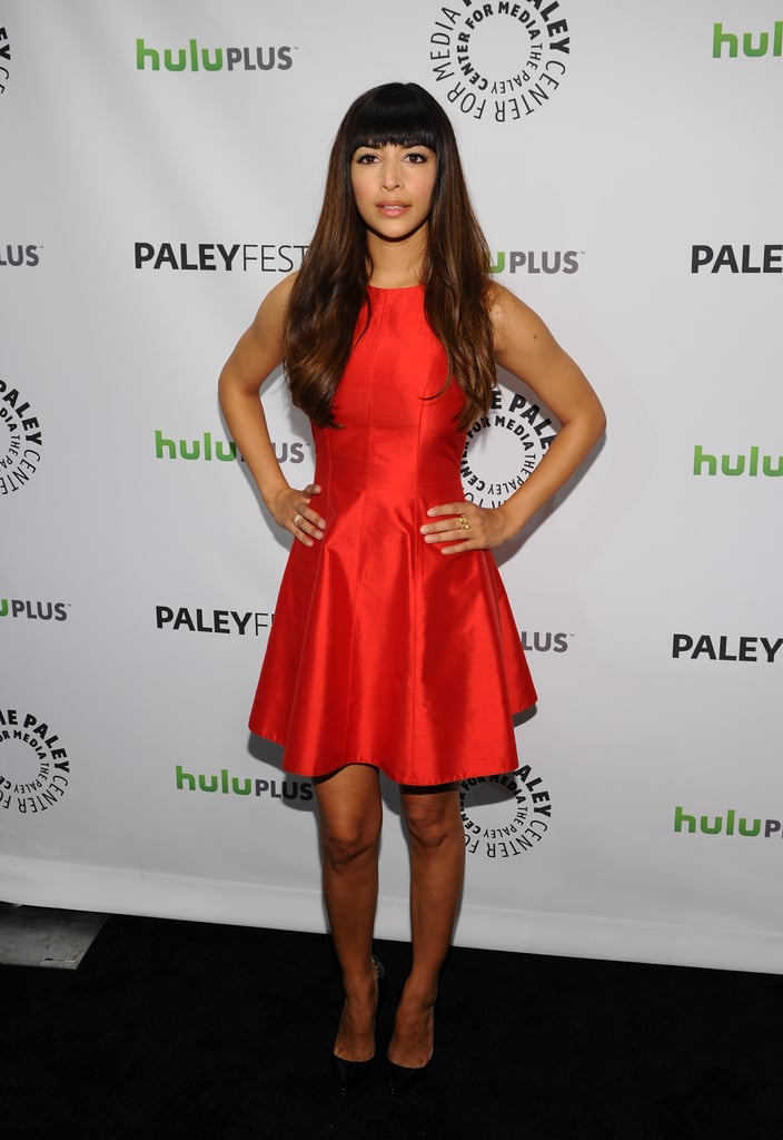 Hannah Simone looked fantastic in a red frock.