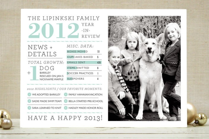 Minted Family Year in Review Cards