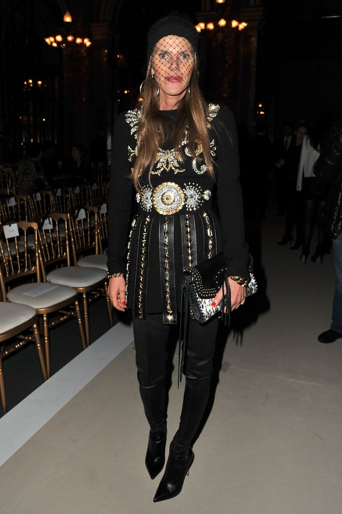 Anna Dello Russo showed off an eye-catching studded ensemble at the Balmain show.