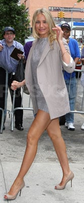 Cameron Diaz Wears Minidress and Blazer at Daily Show in NYC