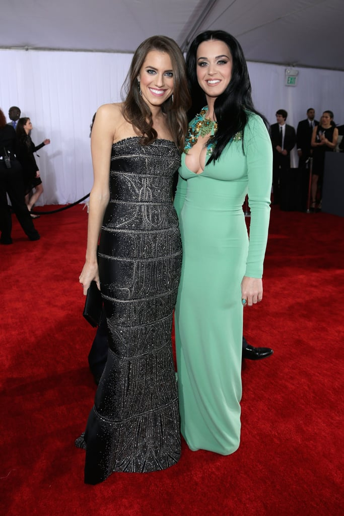 Katy Perry and Allison Williams posed together on the Grammys red carpet.
