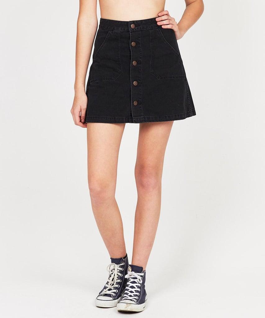 how to wear a denim mini skirt in 2016 popsugar fashion
