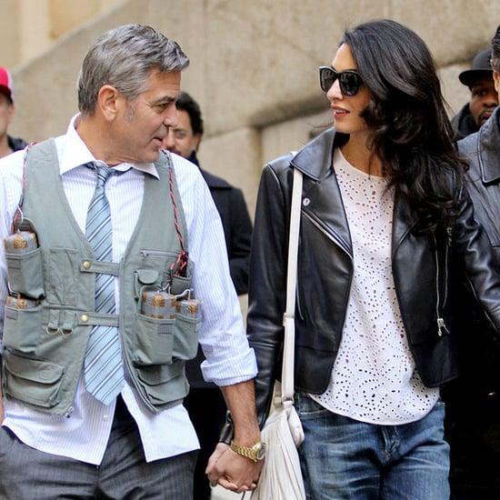 Amal Alamuddin Visits George Clooney on Set With His Dog