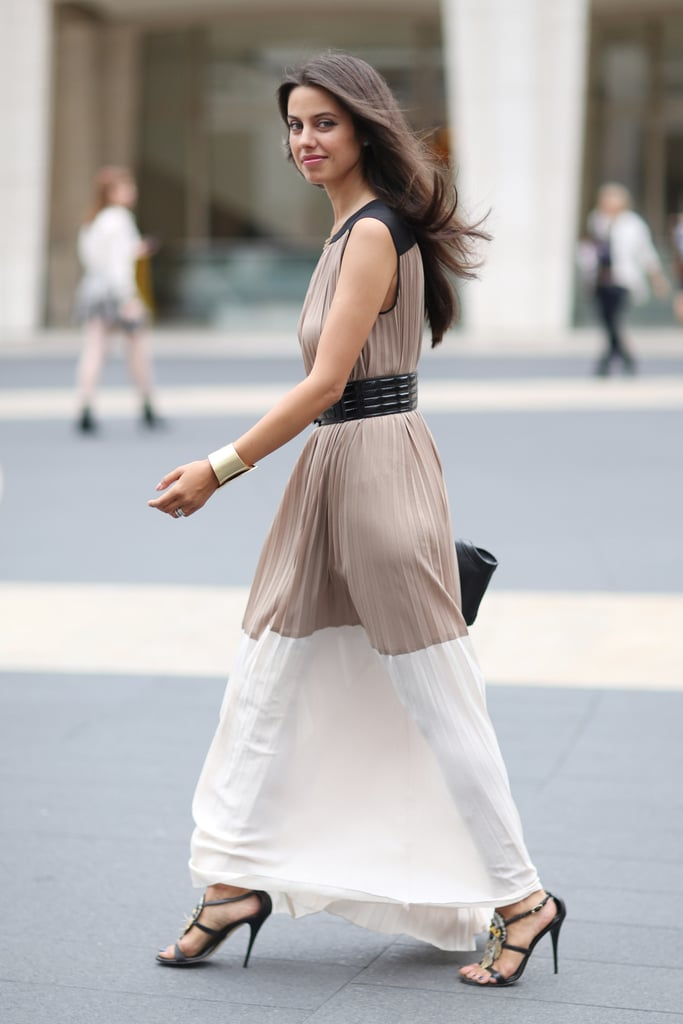 Sometimes, all you need is a pretty dress and a great pair of heels — we love this less-is-more approach. Source: Greg Kessler