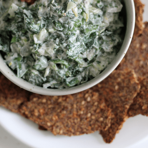 Spinach and Watercress Dip With Flaxseed Crackers