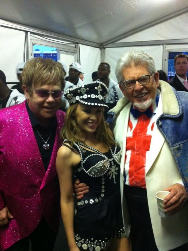 Kylie Minogue hung out at the Diamond Jubilee with Elton John and Rolf Harris. Source: Twitter user kylieminogue