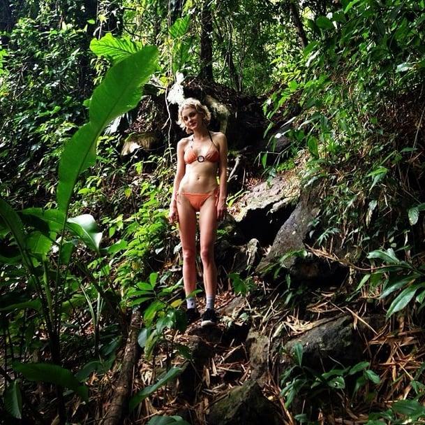 Jessica Stam trekked through the jungle to find a secret swim spot. Source: Instagram user jess_stam