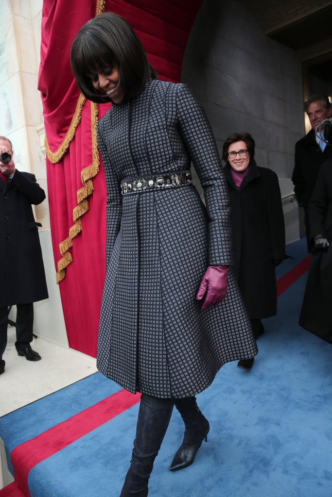 Another shot of the FLOTUS's sophisticated coat look at the capitol.