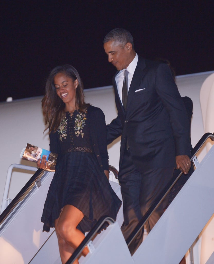 President Barack Obama let daughter Malia lead the way as the first family exited Air Force One at Andrews Air Force Base in Maryland on Sunday.