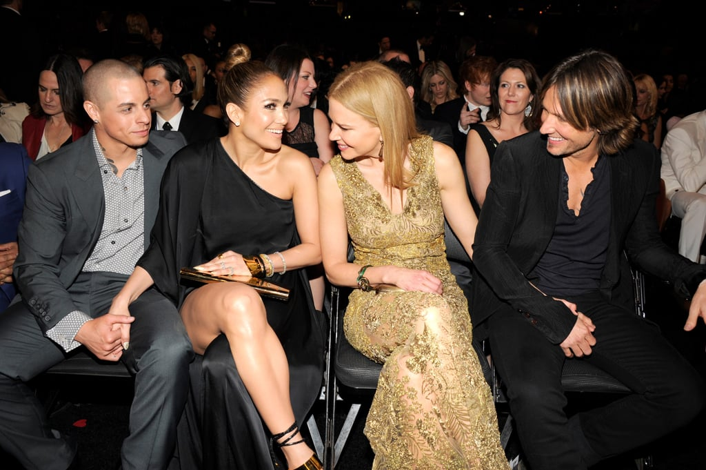 Casper Smart and Jennifer Lopez chatted in their seats with Nicole Kidman and Keith Urban.