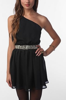 Add interest to this essential LBD just like this with a great sparkly belt.  Lucca Couture Chiffon One-Shoulder Dress (approx $59)