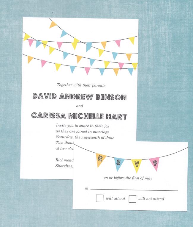 Bunting Banner Wedding Invitation