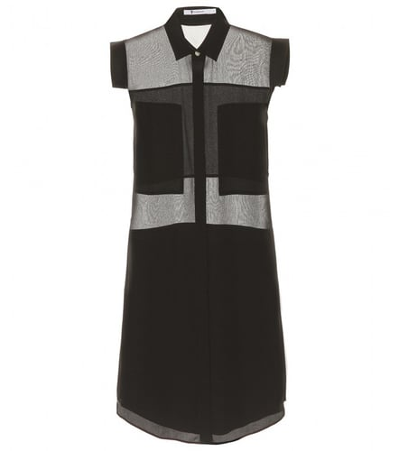T by Alexander Wang SILK DRESS WITH SHEER INSERTS