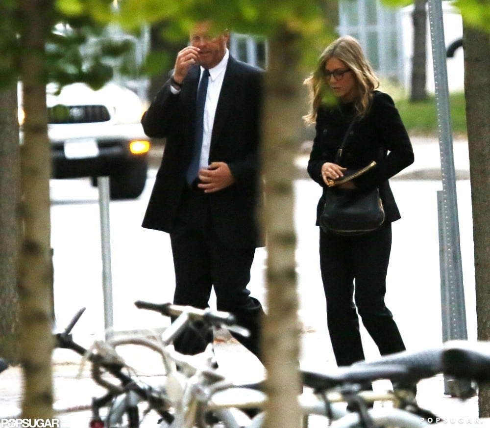 Jennifer Aniston had her hand in her purse as she walked in Boston.