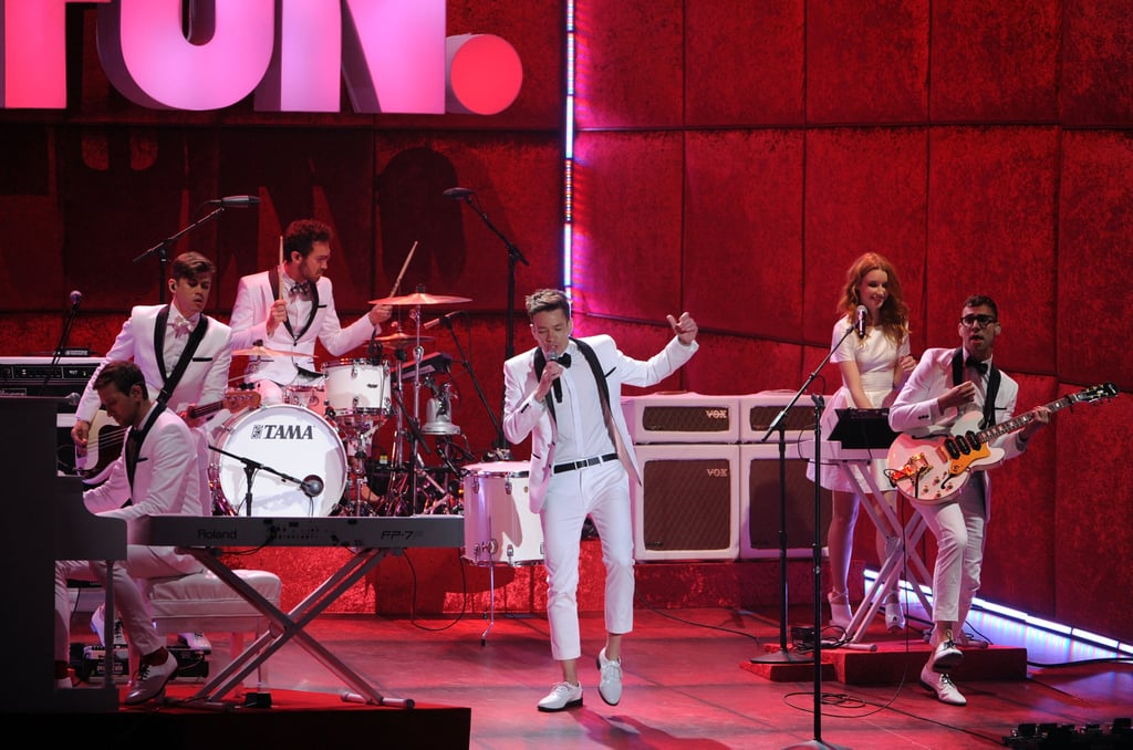 """Fun. kicked off the night with their No. 1 hit, """"We Are Young."""""""