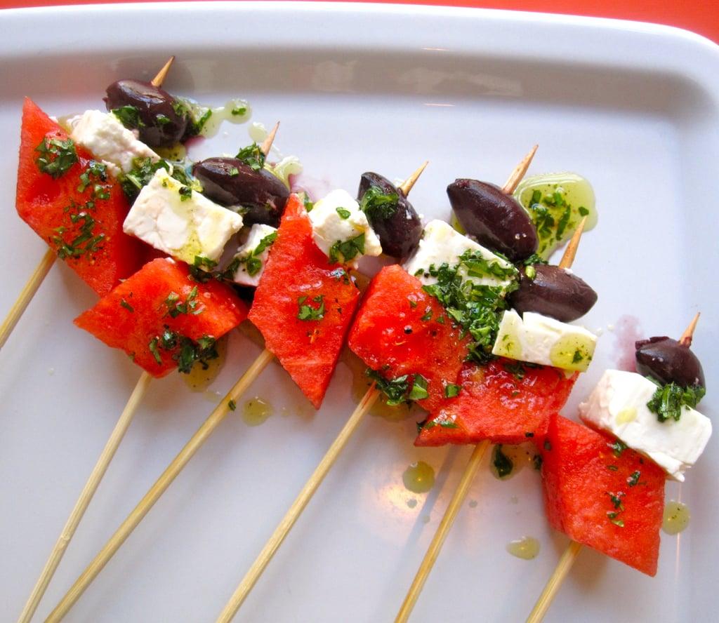 Watermelon, Black Olive, and Feta Skewers