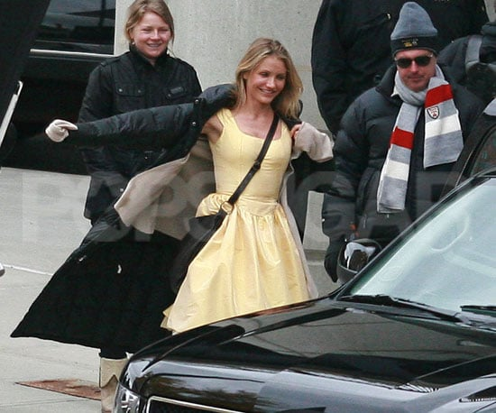 Slide Photo of Cameron Diaz Putting on a Jacket in Boston