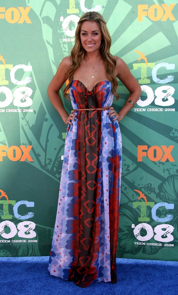 LC wears a long printed dress by Mason to the 2008 Teen Choice Awards.