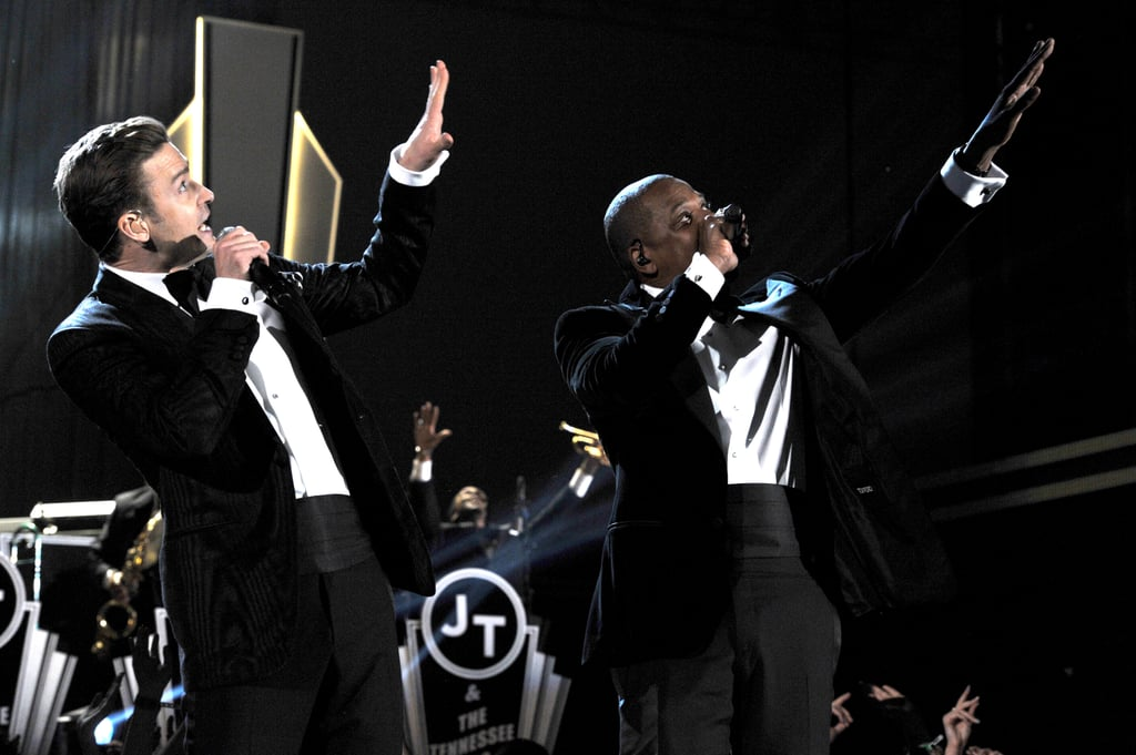 "Justin Timberlake and Jay-Z went from the front row to the stage at the Grammys, performing ""Suit & Tie"" together."