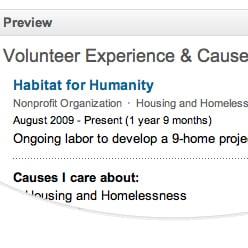 Adding Volunteer Work to LinkedIn