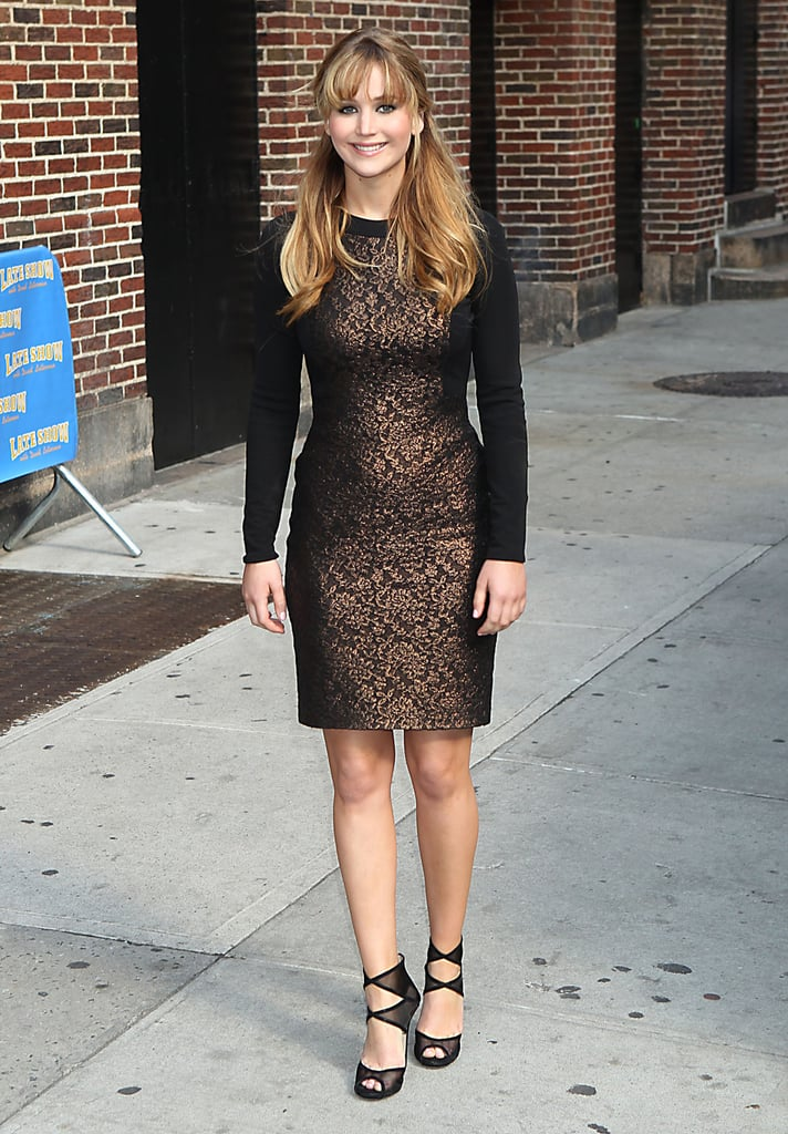 Jennifer  changed into long-sleeved Prabal Guring after her appearance on The Late Show with David Letterman.