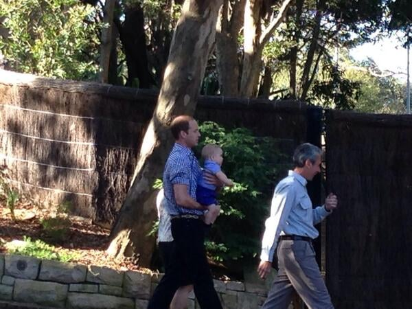 Prince William carried George as they made their way around the zoo. Source: Twitter user byEmilyAndrews