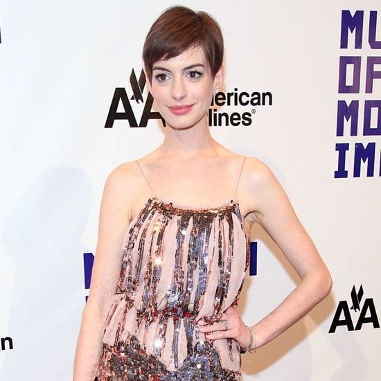 Anne Hathaway Wearing Nude Sequin Dress