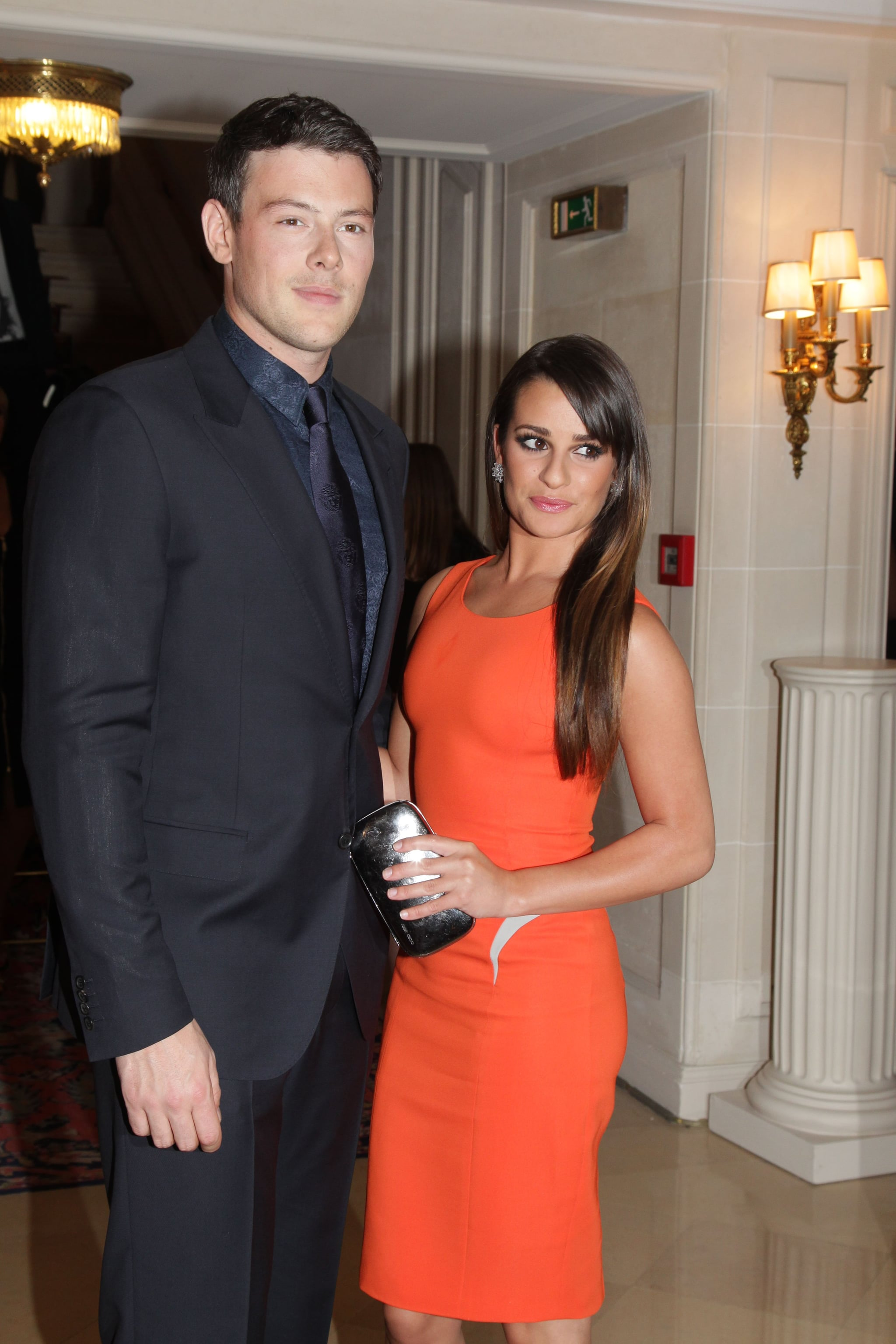 Lea Michele was accompanied by Cory Monteith for the Versace show for Paris Fashion Week.