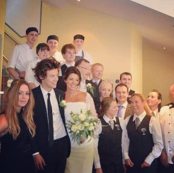Harry Styles served as best man at his mom's wedding in England. Source: Instagram user gemmastagram