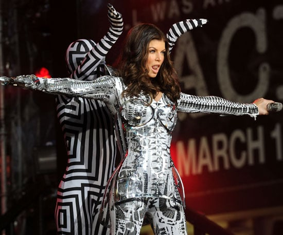 Slide Photo of Fergie Dancing on Stage in Times Square New York City