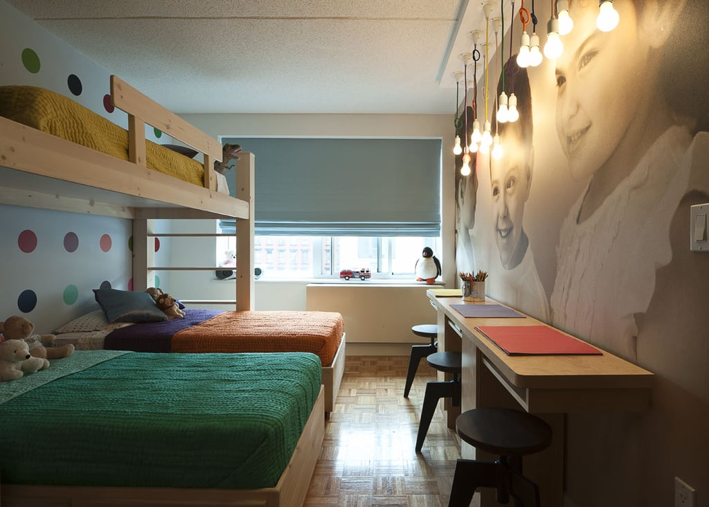 The Novogratz's clients supplied the beds for the triplets' room, while the designers' carpenter, Tom Baione, created the custom-built three-seat desk for the kids.
