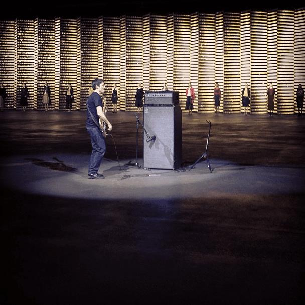 Radiohead's Colin Greenwood serenaded the crowd at Dries Van Noten. Source: Instagram user tmagazine