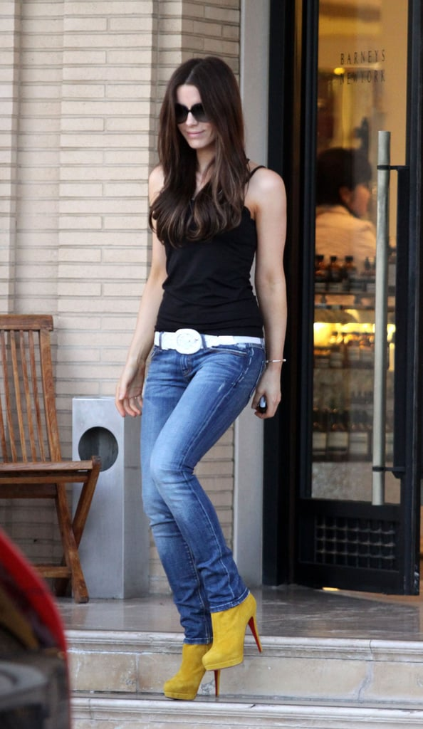 Beckinsale's mustard Christian Louboutin booties amped up her Winter basics in February 2009.