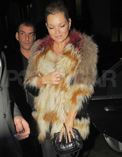 Pictures of Kate Moss Back in Her Colorful Fur in London
