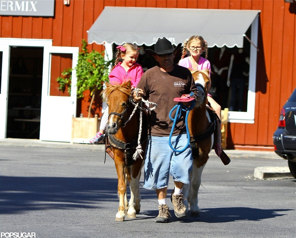 Seraphina Affleck and Violet Affleck got pony rides at a farmers market near their LA home in November.